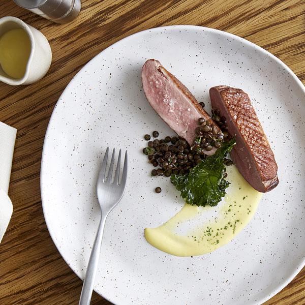 Mode Kitchen & Bar - Roasted duck breast, green lentils, mandarin mustard
