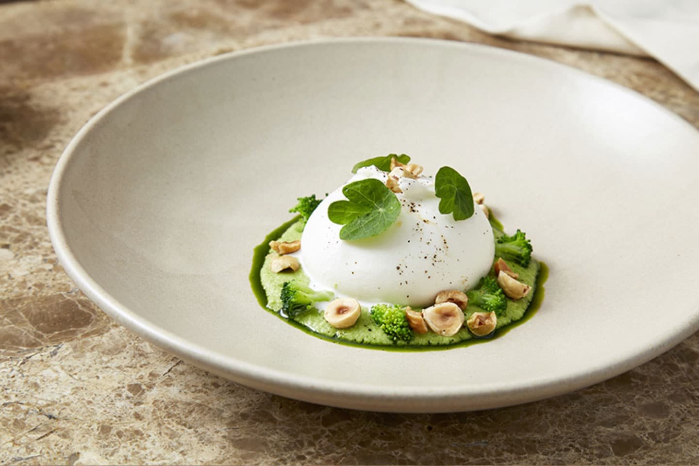 Mode Kitchen & Bar - Fresh local burrata broccoli and hazelnuts