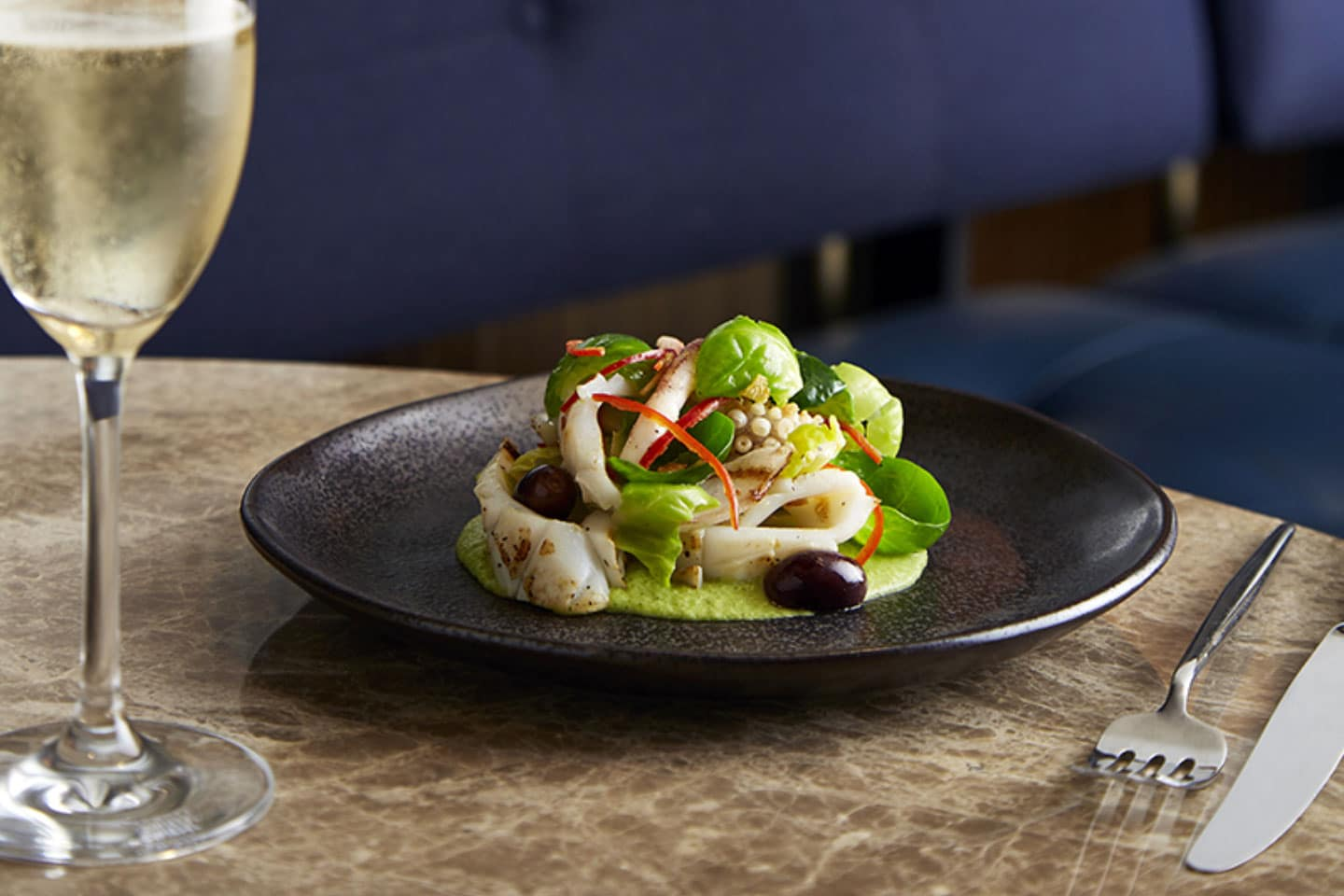 Mode Kitchen & Bar - Grilled SA calamari salad, brussels sprouts, lemon and chilli